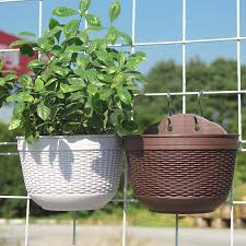 Hanging Flower Plant Pots Balcony Garden Plant Baskets Fence Bucket With Detachable Hook Newchic