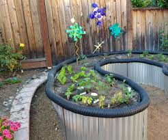 raised bed garden from roofing sheet