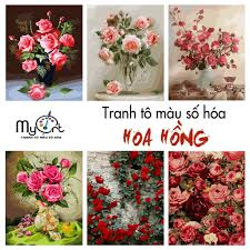 Tranh tô màu theo số sơn dầu số hóa MyArt tự vẽ - Tranh Hoa hồng các loại