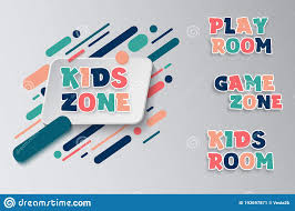 Kids Zone Entertainment Banner Colorful Letters For Children S Playroom Decoration Sign For Children S Game Room Kids Stock Vector Illustration Of Happy Letter 193697871