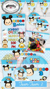 Kit Imprimble Tsum Tsum 2 Fiesta Invitacion Decoracion 35 00