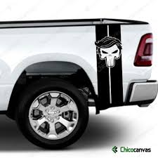 Trump Punisher American Flag Skull Rear Truck Bed Decal Vinyl Stripes Sticker Chicocanvas