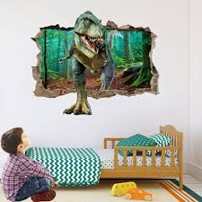 Dinosaur Forest Wall Sticker 3d Smashed Wall Decals For Diy Boys Kids Bedroom Art Decoration Free Shipping Dealextreme