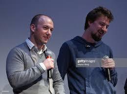 Writer Simon Barrett and Director Adam Wingard speak onstage at ...