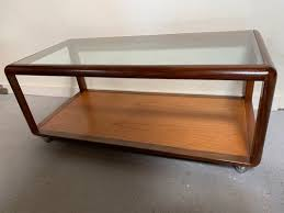 mid century glass coffee table 1970s