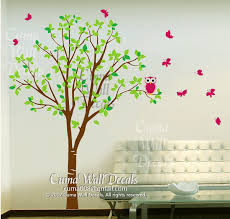 Vinyl Wall Decals Green Tree Pink Owl By Cuma Wall Decals On Zibbet