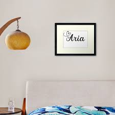 Aria Personalized Girl Name Framed Art Print By Janeapril Redbubble