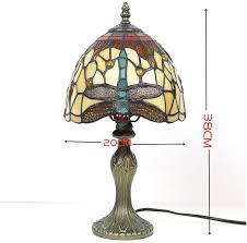 Xwzh Tiffany Style Mini Accent Lamp Red Yellow Dragonfly Bedside Nightstand 8inch Wide For Kids Room Living Room Bedroom Amazon Com