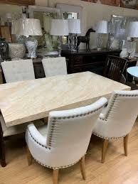 cream marble effect dining table and