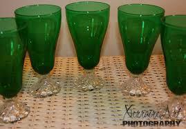depression glass green goblets barb s