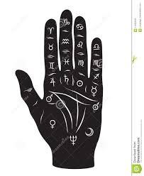 A Mão Da Quiromancia Ou Da Quiromancia Com Sinais Dos Planetas E O Projeto  Tirado Dos Sinais Do Zodíaco Mão Preto E Branco Isolar Ilustração do Vetor  - Ilustração de mão, preto: