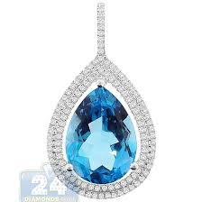 womens topaz diamond teardrop pendant