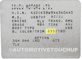 isuzu paint code locations touch up