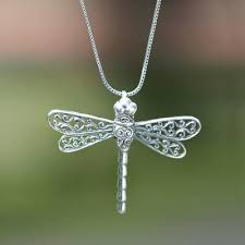 handcrafted dragonfly pendant necklace