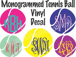 Monogrammed Tennis Ball Vinyl Decal Personalized Car Decal Etsy