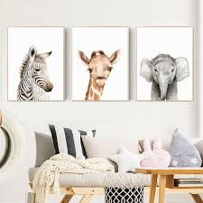 Zero Clock Baby Animals Posters And Prints Minimalist Canvas Painting Nursery Woodland Wall Art Kids Room Decoration Pictures Nana S Corner Beauty Cosmetic