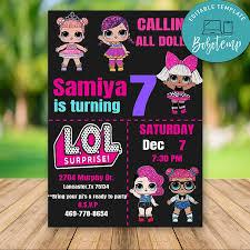 Editable Lol Surprise Dolls Llamando A Todas Las Invitaciones De