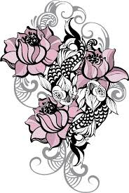Dainty Pink Lotus Flower With Koi Fish And Gray Waves Vinyl Decal Stic Shinobi Stickers