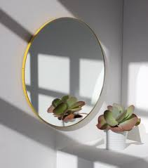 orbis round mirror with yellow frame by