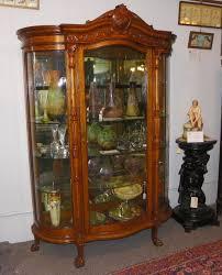 oak curved glass curio china cabinet
