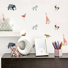 Safari Wall Stickers 24pcs Cozy Nursery