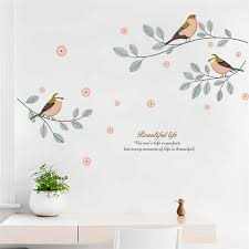 Beautiful Natural Plant Leaf Flower Bird Branch Wall Sticker Bedroom Living Room Home Decoration Wall Art Decals Poster Mural Wall Stickers Aliexpress