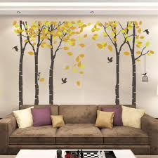 Tayyakoushi 5 Trees Wall Decal Forest Mural Paper For Bedroom Kid Baby Nursery Vinyl Removable Diy Sticker 103 9x70 9 Orange Brown Walmart Com Walmart Com