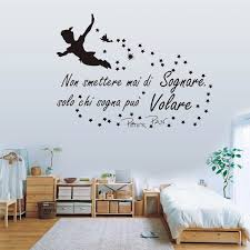 Cartoon Italian Quote Wall Sticker Nursery Kids Room Peter Pan Fly Italian Never Stop Dream Inspiral Quote Wall Decal Decorative Films Aliexpress