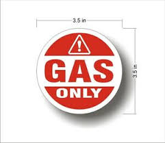 Industrial Highway Vehicle Safety Decal Sticker Gas Only Warning Label Ebay
