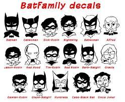 Batman Stickman Family Decal Batfamily Dc Comics Superhero Etsy Bat Family Batman Family Dc Comics Heroes