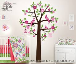 Peacocks In Blossom Tree Wall Decal For Nursery Suitable For Shelves