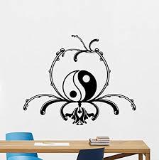 Amazon Com Yin Yang Wall Decal Yoga Studio Yin Yang Symbol Vinyl Sticker Zen Meditation Wall Art Design Religious Wall Art Mural 182rt Home Kitchen