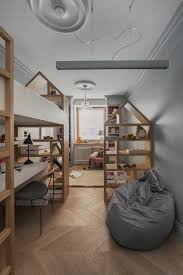 Bookcase For Kids Room With Scandinavian Kids And Bean Bag Chair Built In Bookcases Desk Under Bed Grey And White Room Kids Play Room Large Bedroom Loft Bed Open Bookcases Play Space