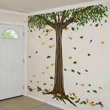 Giant Shade Tree With Falling Leaves Wall Decals