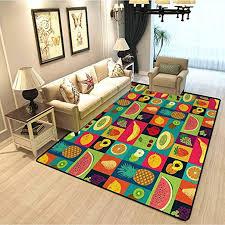 Amazon Com Retro Kids Room Bedroom Carpet Pop Art Grunge Style Fruits Collection Colorful Vintage Set Organic Food Pattern Non Slip Soft Fur Indoor Rug Multicolor W6 5xl9 8 Feet Kitchen Dining