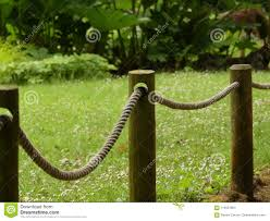 Rope Fence With Wooden Fence Posts In Gardens In England Stock Photo Image Of Spring Garden 119451804