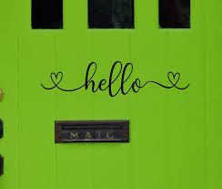 Hello Decal Front Door Decal Door Decal Entryway Decal Mudroom Decal Hello Door Decal