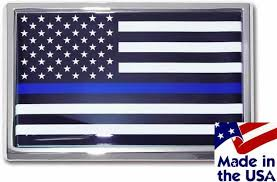 Police Thin Blue Line Black And White American Flag Car Emblem I Americas Flags