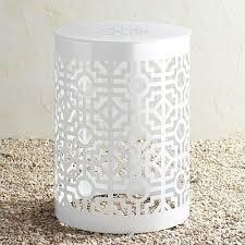 trellis white metal garden stool pier
