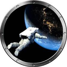 Decal Up The Wall Graphics 24 Porthole Instant Space Ship Window View Astronaut Floating 1 Silver Wall Decal Kids Sticker Room Home Art Decor Graphic Med Baby Nursery Decor Nursery Clocks