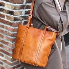 brown genuine leather tote handbags