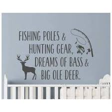 Amazon Com Yilooom Fishing Poles And Hunting Gear Wall Decal Quote Fishing Quotes Decals Vinyl Stickers Hunting Fishing Theme Nursery Kids Bedroom Decor 32 Inch In Width Kitchen Dining