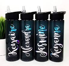 Amazon Com Personalized Water Bottle Sport Bottle Plastic Sports Water Bottle With Name Vinyl Decal Kid Personalized Plastic Tumbler Custom Water Bottle Wedding Party Gift Kid Friendly Water Bottle Mag Handmade