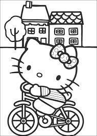 Kids N Fun Kleurplaat Hello Kitty Kitty Op De Fiets