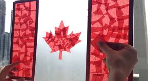 stained glass canadian flag