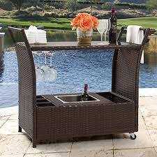 wicker outdoor bar cart w ice bucket