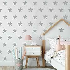 Amazon Com Melissalove 48pcs Set Of Stars Vinyl Wall Decor Stickers Diy White Star Wall Decals Art For Kids Nursery Room Decor Mural Wallpaper D399 Grey Arts Crafts Sewing