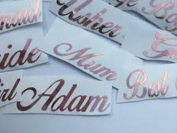 Personalised Gold Name Sticker Vinyl Decal Baubles Wine Glass Fancy Hen Wedding