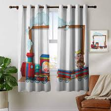 Amazon Com Petpany Blackout Curtains Kids Joyful Children Traveling On A Cartoon Train With A Funny Monkey Toddler Nursery Theme Multicolor Insulating Room Darkening Blackout Drapes For Bedroom 42 X45 Home Kitchen