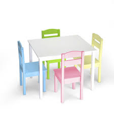5 Piece Kids Table Chair Set Children Toddler Wooden Playroom Furniture Colorful For Sale Online